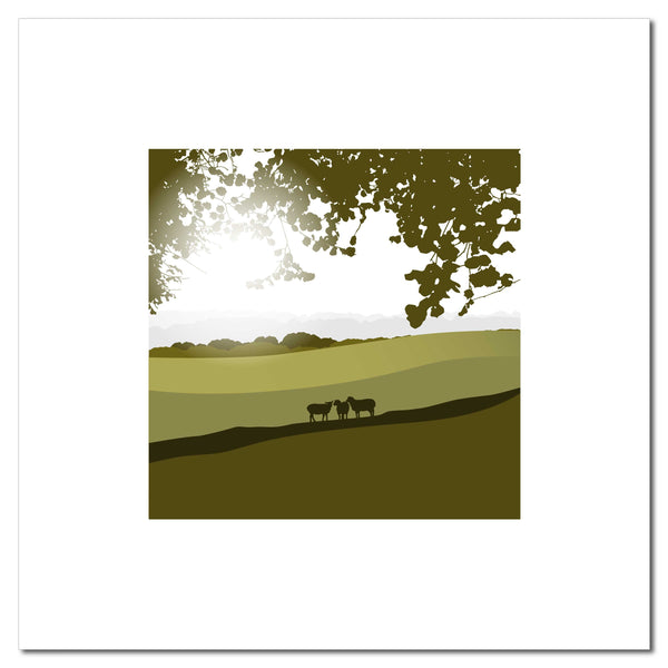 Sheep in the Meadow - Green - Large