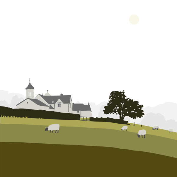 Church and Sheep - Green - Large