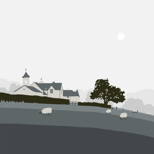 Church and Sheep - Grey - Large