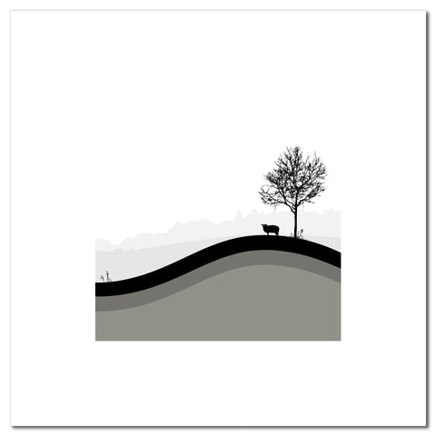 Sheep Hills 4 - Grey - Large