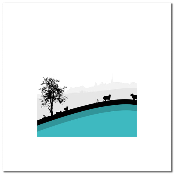 Sheep Hills 1 - Blue - Large