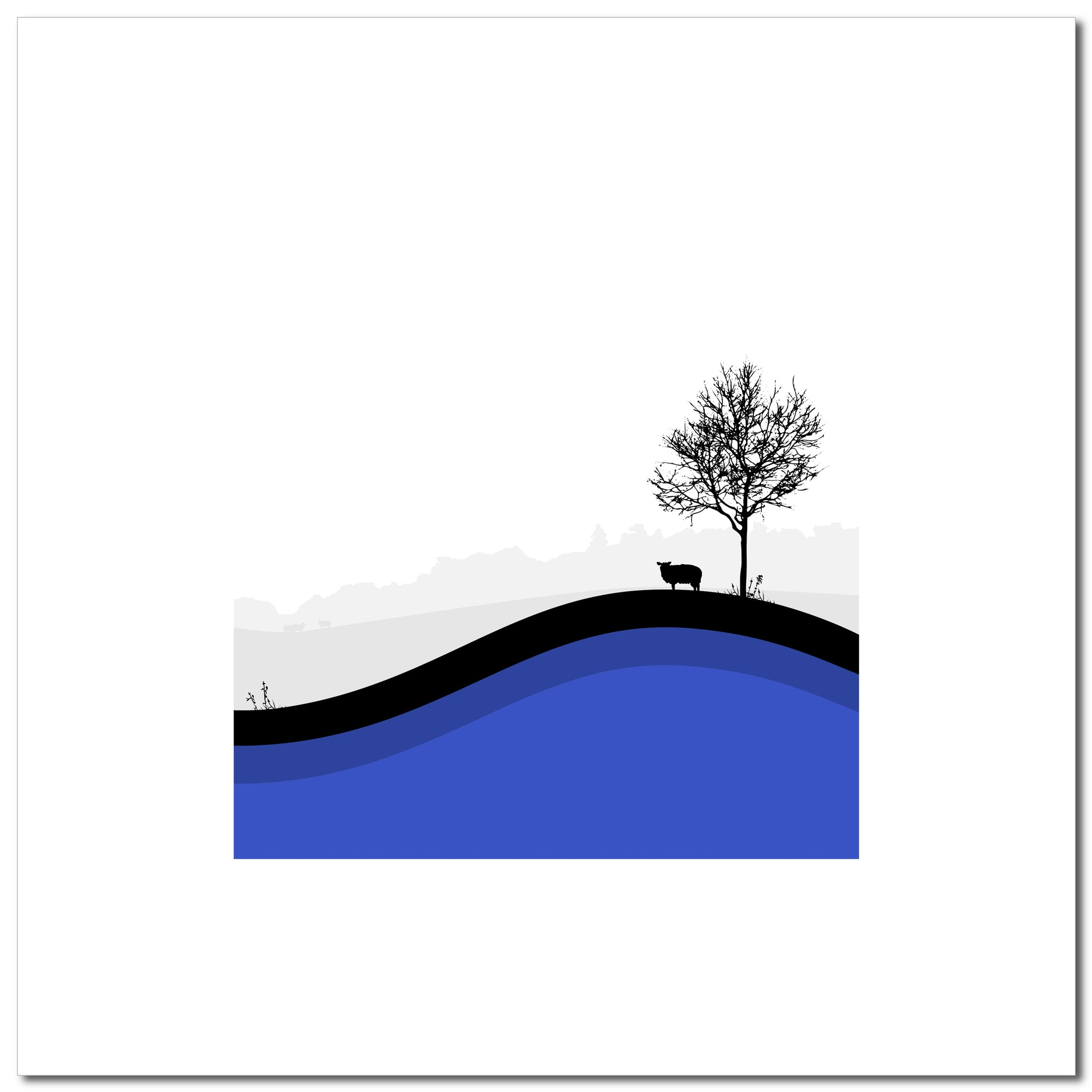 Sheep Hills 4 - Blue - Large