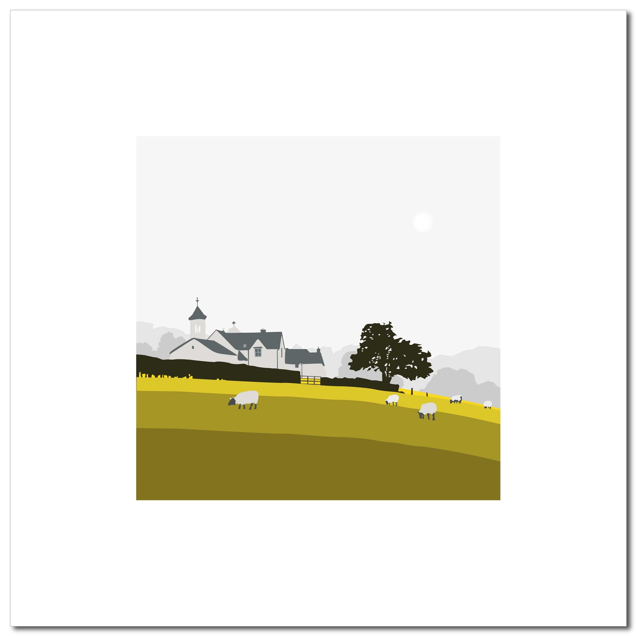 Church and Sheep - Ochre - Large