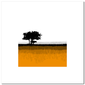 Longhorn & Tree - Orange - Large