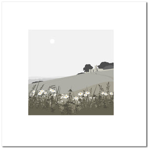 Rodborough Fort with Flowers - Grey - Large