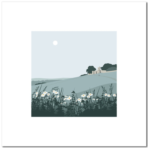 Rodborough Fort with Flowers - Blue - Large