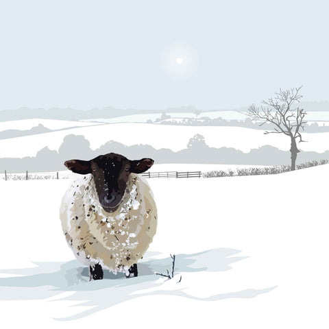 Snowy Sheep - Framed 25 x 25cm