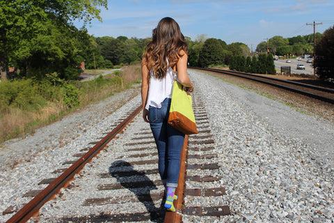walking down railroad track