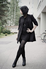woman in black dress with black blazer