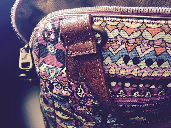 close up of patterned purse