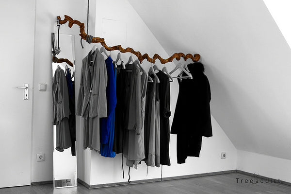 wardrobe with grays and blue