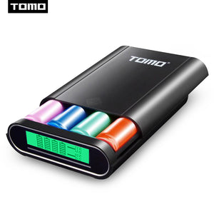 TOMO T4 4 x 18650 Li-ion Universal Battery DIY Smart Portable Battery USB Charger with LCD Display Screen Power Bank Dual Output