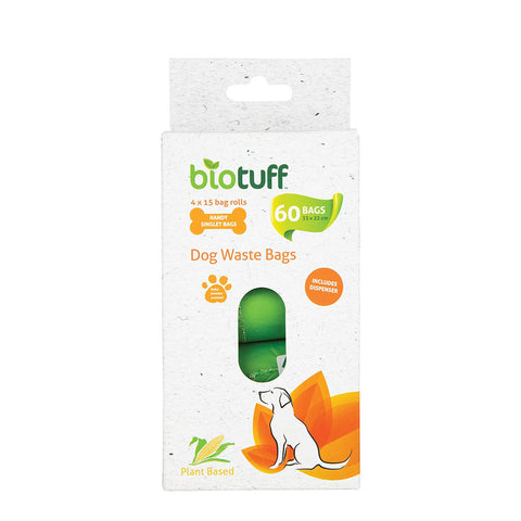 Biotuff Dog Waste Bag 4 Pack - 60 bags