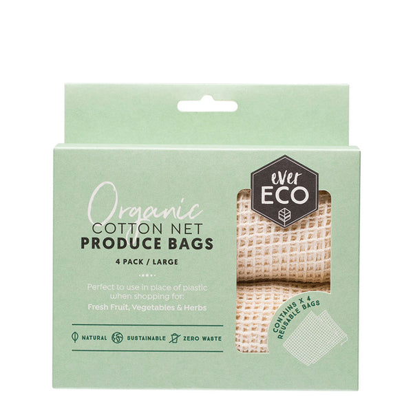 Ever Eco Organic Cotton Net Produce Bags - 4 Pack Large