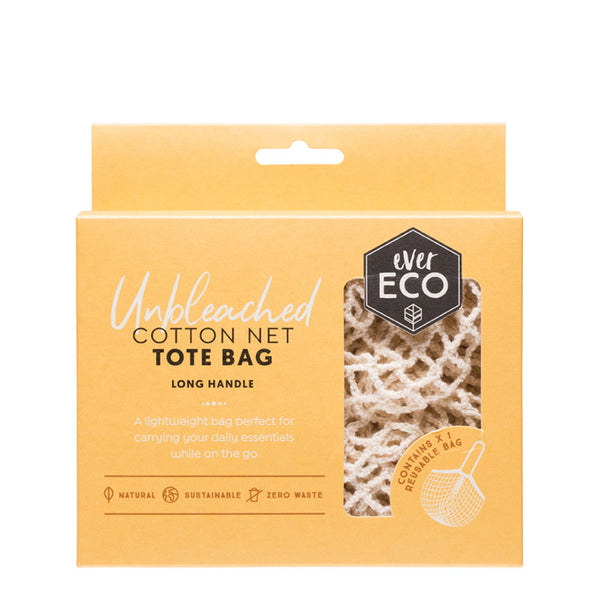 Ever Eco Organic Cotton Tote Bag - 1 x Re-Useable Long Handle