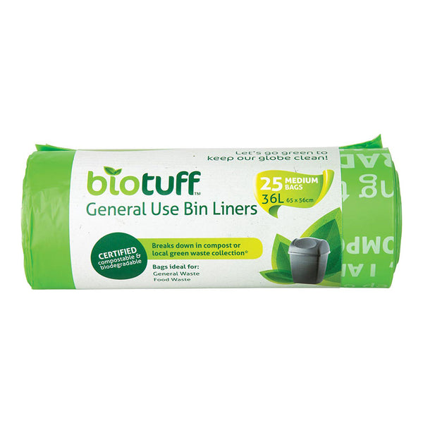 Biotuff General Use Bing Liners 25 Medium Bags - 36L