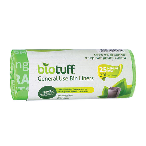 Biotuff General Use Bing Liners 25 Medium Bags - 30L