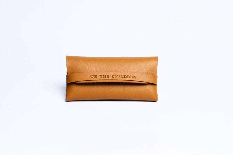 vegan leather sunglass case kids brown tan burnt orange