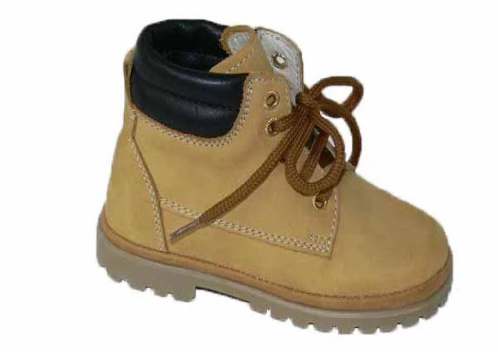 Boot made of soft honey nubuk with a rubber sole