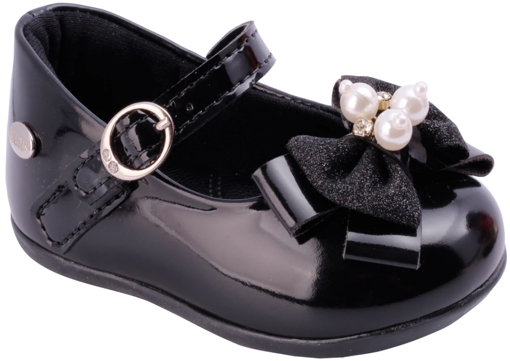 KLIN black shoe with bow and pearls, Style - CARAVINHO PRINCESS