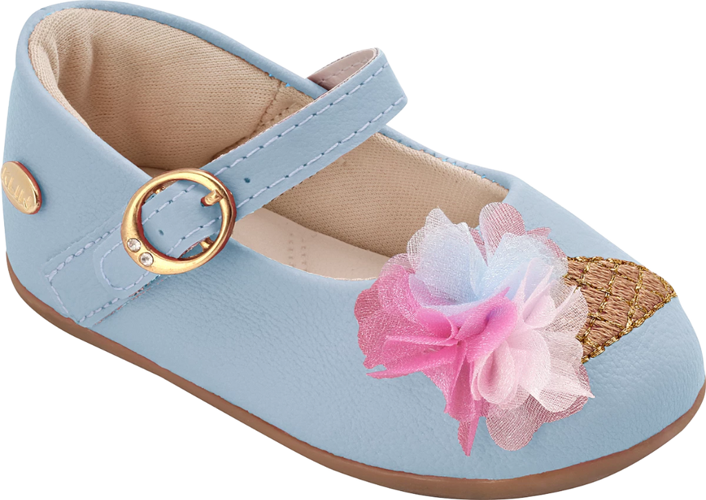 KLIN cute pale blue shoe with pink and white embellishment, Style - CRAVINHO PRINCESS