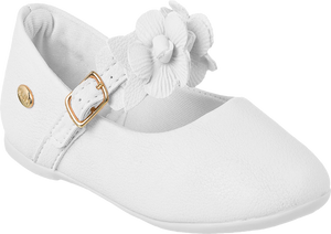KLIN white stylish shoe with flowers on strap, Style - PRINCESA BABY