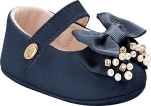 KLIN navy baby shoe with bow and pearls, Style - RECEM NASCIDO