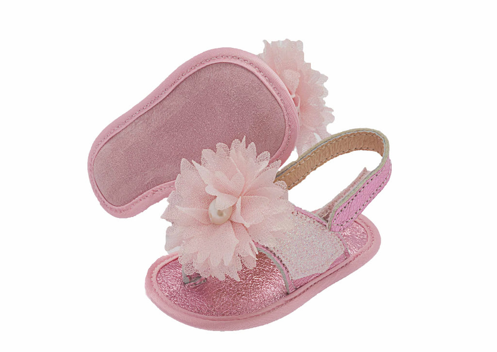 Leather sandal with velcro strap and organza flower