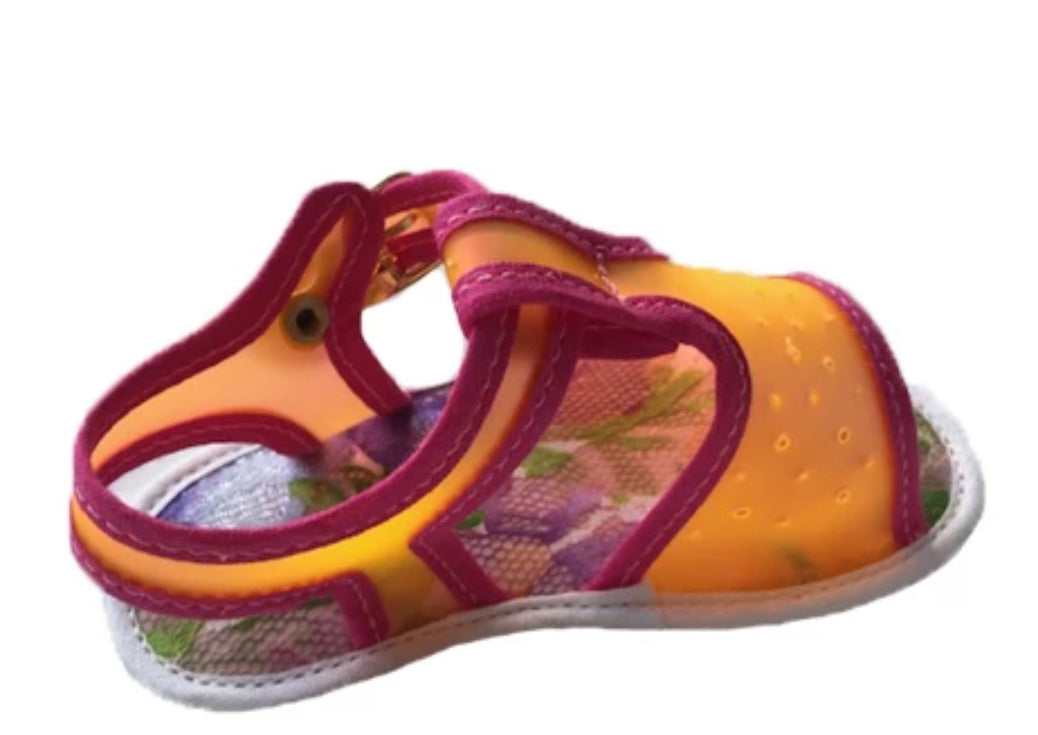 Transparent PVC and fabric sandal with buckle