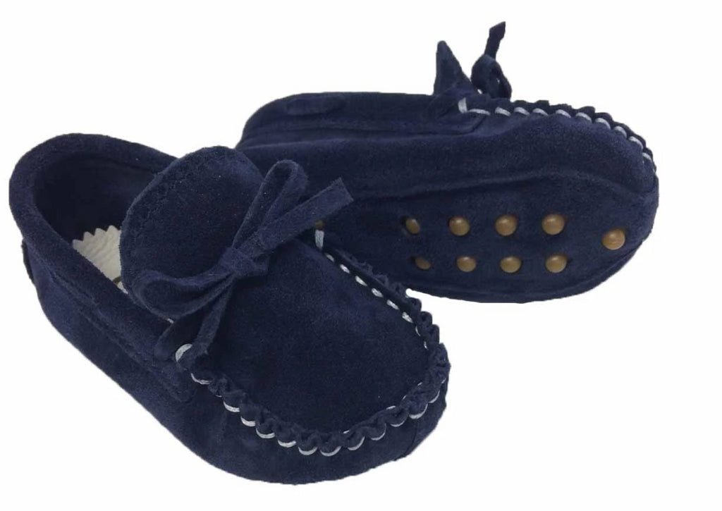 Suede moccasin with laces  -  Blue