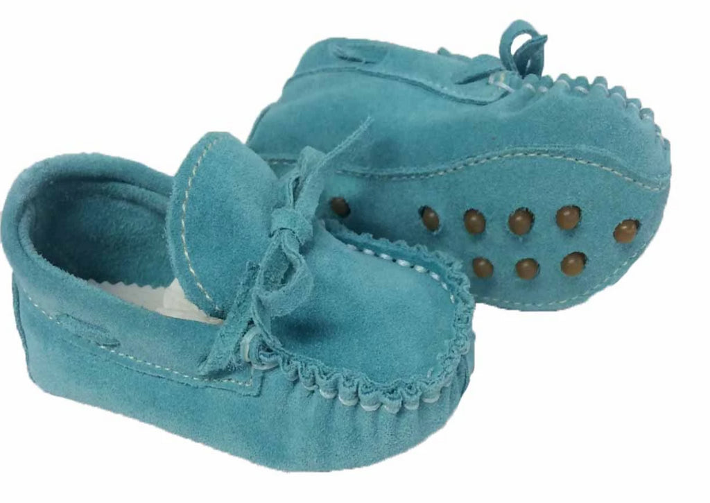 Suede moccasin with laces  - Water (Light Blue)