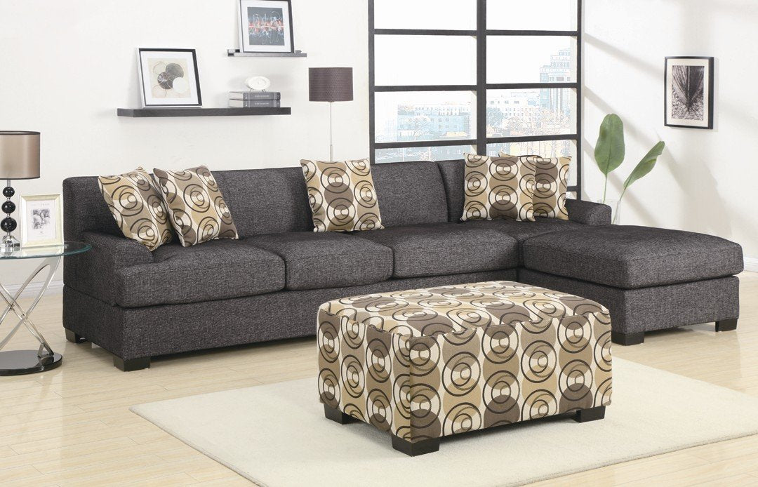 Montreal Ash Black Faux Linen Over-Sized Sectional Sofa