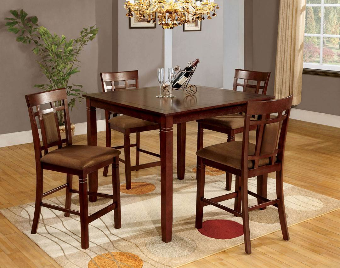 Richarmont Dark Cherry Finish Counter Height and Pub Sets,Dining room  Collection Table + 4 Chairs