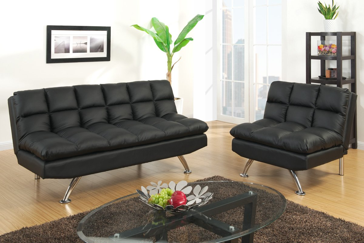 Burnad Black Faux Leather Contemporary Style Sofa Bed Only