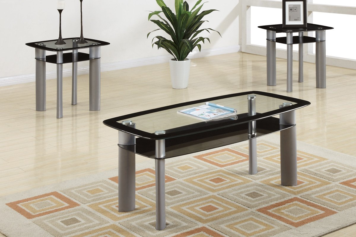 - Amilo 3 Piece Tempered Glass Top Coffee Table/End Tables Set
