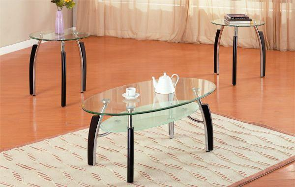 Oval Glass And Silver Wood Combination Coffee End Table Set Mrhomeus