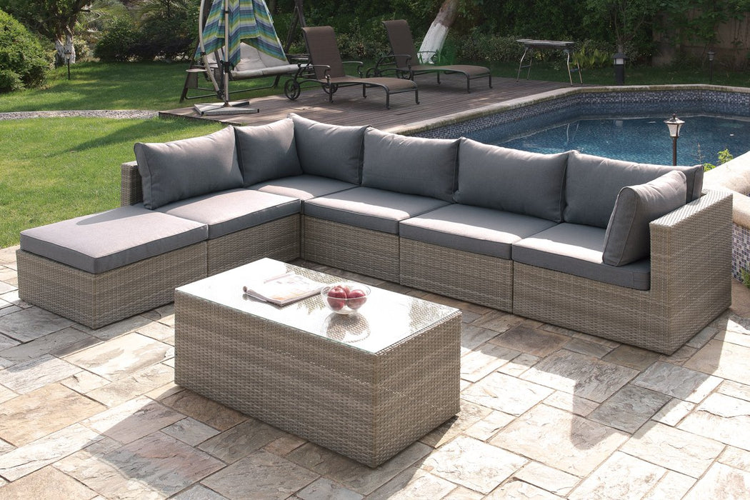 Pleasant Misha 7 Piece Tan Weather Resistant Wicker Sectional Sofa Set Onthecornerstone Fun Painted Chair Ideas Images Onthecornerstoneorg
