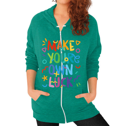 Zip Hoodie (on woman) Tri-Blend Vintage Green Shady Sluts Eyewear... get some.