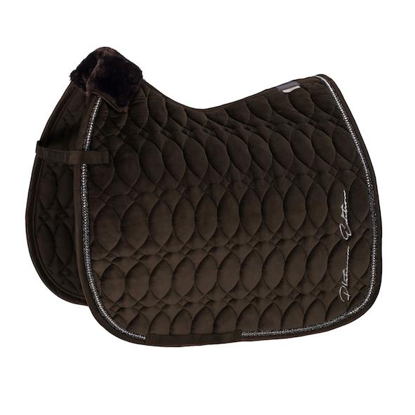 Eskadron Velvet Crystal Saddle Pad Platinum 2020 Eskadron My Breeches | Eskadron Havana Brown Pony - Dressage