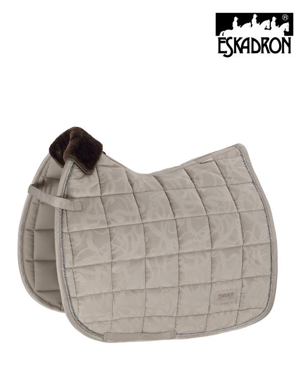 Eskadron Velvet Stamp Saddle Pad Platinum 2020 Eskadron My Breeches | Eskadron Greige Pony - Dressage