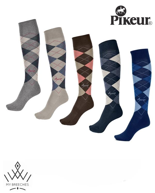 Pikeur Knee Length Long Socks with Argyle Check My Breeches | Pikeur