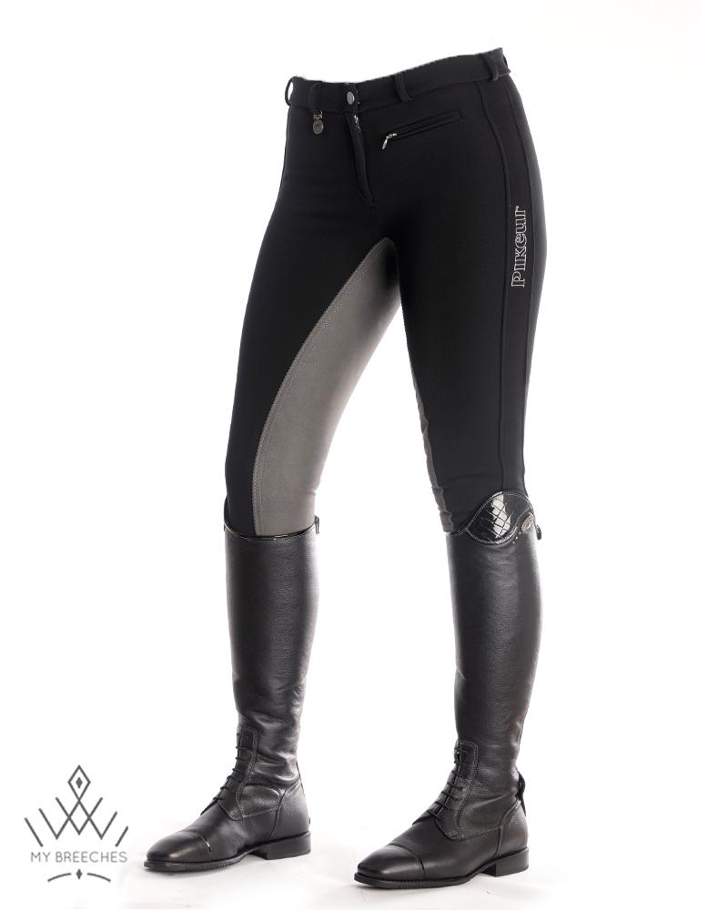"Pikeur Lucinda Contrast Softshell Winter Ladies Breeches - SALE Ladies Breeches My Breeches | Pikeur Anthracite/Black 34/UK20""/USA22"""