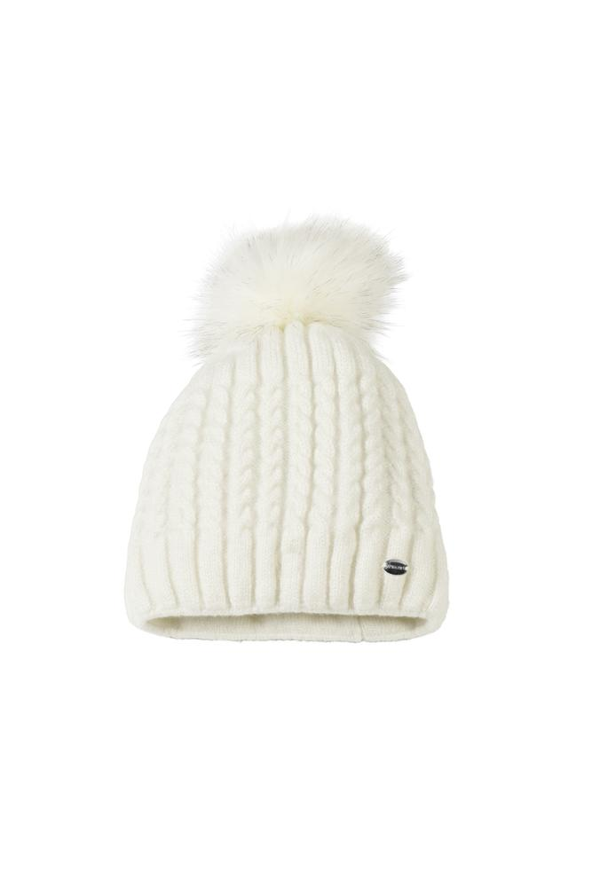 Pikeur Cable Knit Hat with Faux Fur Pommel