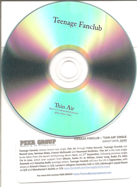 "TEENAGE FANCLUB - ""Thin Air"" 1 track PROMO CDr"
