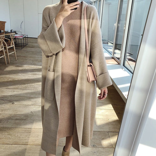 2019 Autumn Women Poncho Long Sleeve Loose Style Knitted Long Sweater Coat-Bohemian for all season-crazywomenz