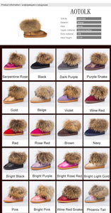 New Arrival Women Boots Genuine Leather Real Fox Fur  Winter Shoes
