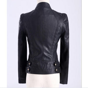 3XL Plus Size Rivet PU leather Motorcycle jacket 2019 European Slim-Bohemian for all season-crazywomenz