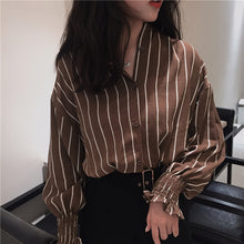Load image into Gallery viewer, Autumn Vintage Shirts Striped Slim Stand collar Casual Classic Style-Bohemian for all season-crazywomenz