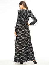 Load image into Gallery viewer, Fashion Women Maxi Dress Wave Point Dubai Belt Long Sleeve O-neck-Islamic Abayas & Kaftans-crazywomenz