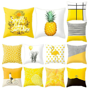 Pineapple Leaf Geometric Yellow Throw Pillow Case 45x45cm-Quirky Products-crazywomenz